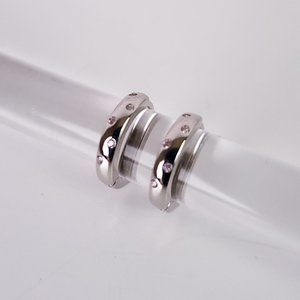 925 Silver Huggie Hoops with Pink Topaz Accents